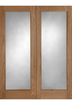 external door pair oak pattern 20 with clear double glazed units untreated check stock before ordering as some sizes out and no due date