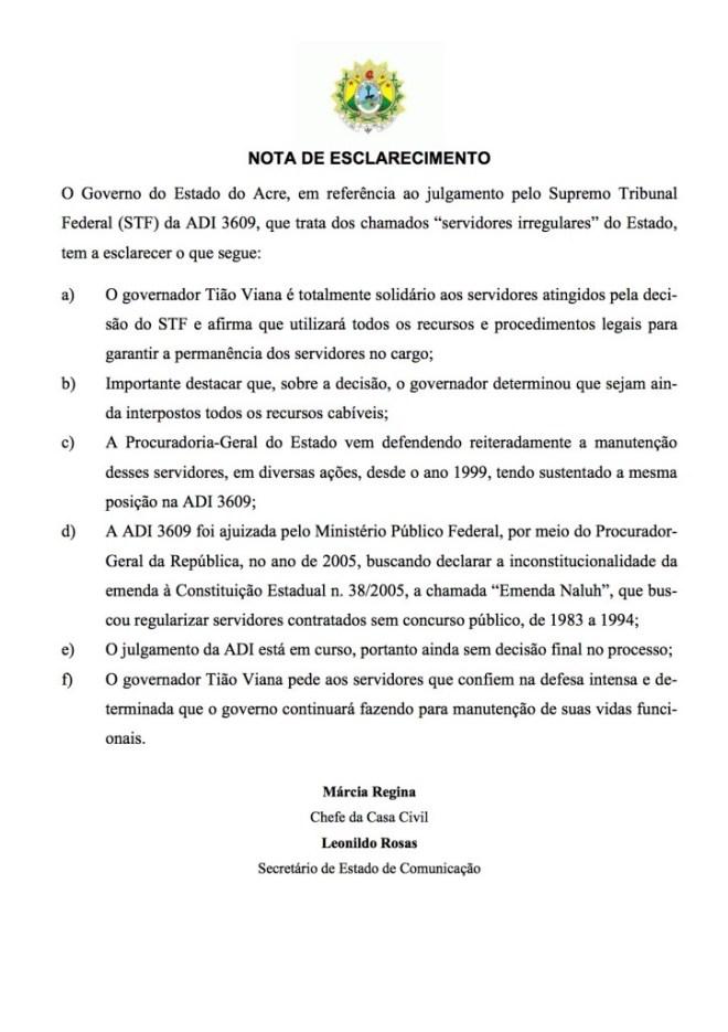NOTA DE ESCLARECIMENTO - ADI