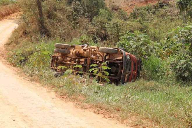 Caminhão tombou ao descer de ré encima de uma casa de abelhas para desespero do motorista - Fotos: Alemão Monteiro