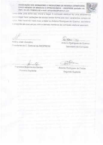 Documento assinados da reunião da Comissão Eleitoral sobre o sumiço dos Associados e quitação dos mesmos na AMOPREB
