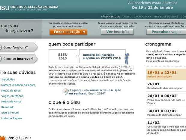 Inscrições pelo site do Sisu já podem ser feitas (Foto: Reprodução)