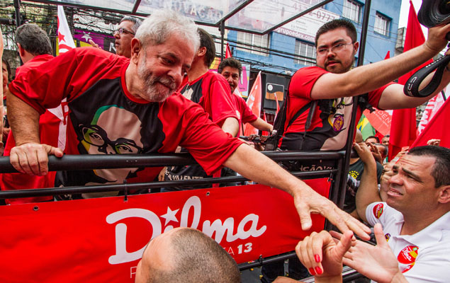 O ex-presidente Lula durante campanha pela reeleição de Dilma Rousseff