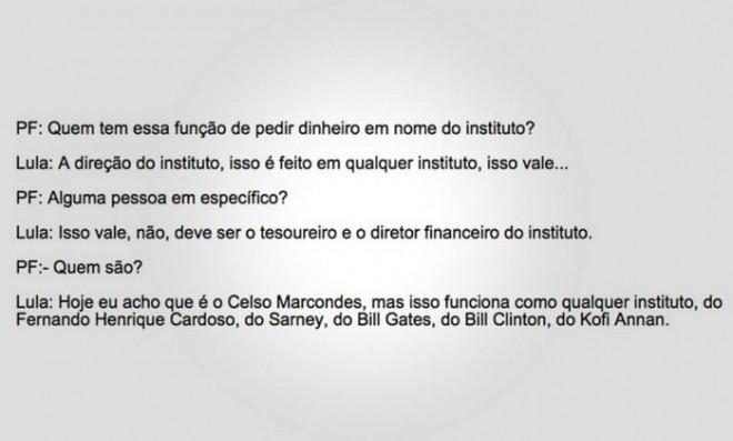 Trecho do depoimento do ex-presidente Lula - Divugação / PF Leia mais sobre esse assunto em http://oglobo.globo.com/brasil/lula-diz-que-diretores-de-seu-instituto-podem-ter-pedido-doacoes-empresas-investigadas-pela-lava-jato-18870433#ixzz42tB4F1PV © 1996 - 2016. Todos direitos reservados a Infoglobo Comunicação e Participações S.A. Este material não pode ser publicado, transmitido por broadcast, reescrito ou redistribuído sem autorização.