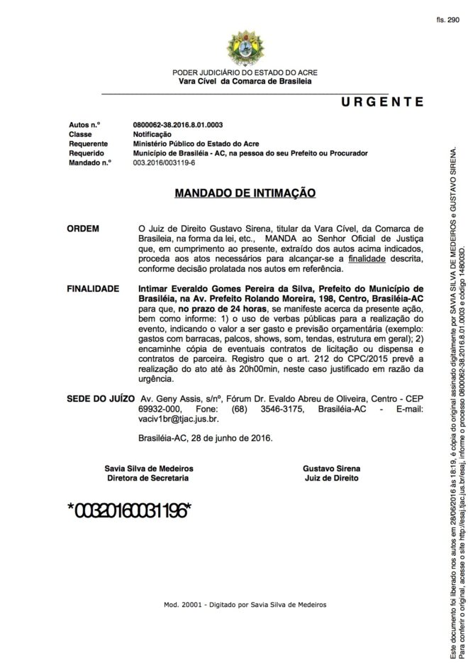 NOTIFICAÇÃO DE MANDADO JUDICIAL
