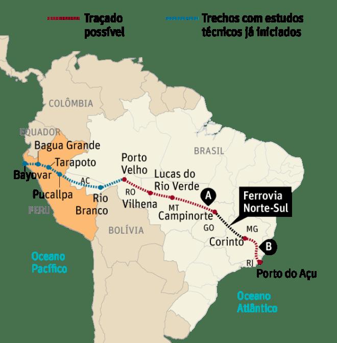 A e B: trechos incluídos no programa de concessões lançado pela presidente Dilma em 2012