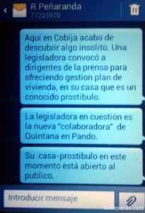 Mensagem dirigida de Cobija ao chefe da imprensa de ANF na noite do dia 6 de maio. | Foto Sol de Pando