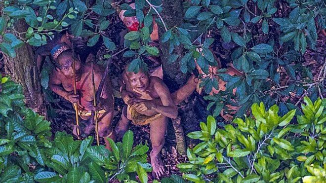 Indígenas escondidos entre árvores com medo do helicóptero /Foto: Ricardo Stuckert