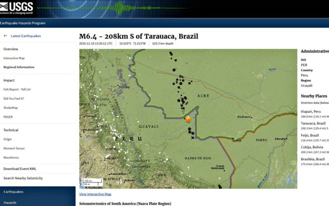Tremor de magnitude de 6,4 foi registrado próximo a Tarauacá, no AC (Foto: Reprodução/USGS)