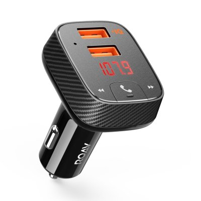 Anker Roav SmartCharge Car Kit F2, Wireless In-Car FM Transmitter Radio Adapter, Bluetooth 4.2 Receiver, Car Locator, App Support, Dual-USB Car Charge