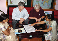 From left: Albina Shankar, director of Mobility India; Dr Sarwar, Pakistan Institute of Prosthetics and Orthotic Science; Dan Blocka, ISPO education chair; and Ritu Ghosh, deputy director of Mobility India, look over the curriculum of the Category II single-discipline course at the recent inspection carried out by ISPO. Photo by Carson Harte.