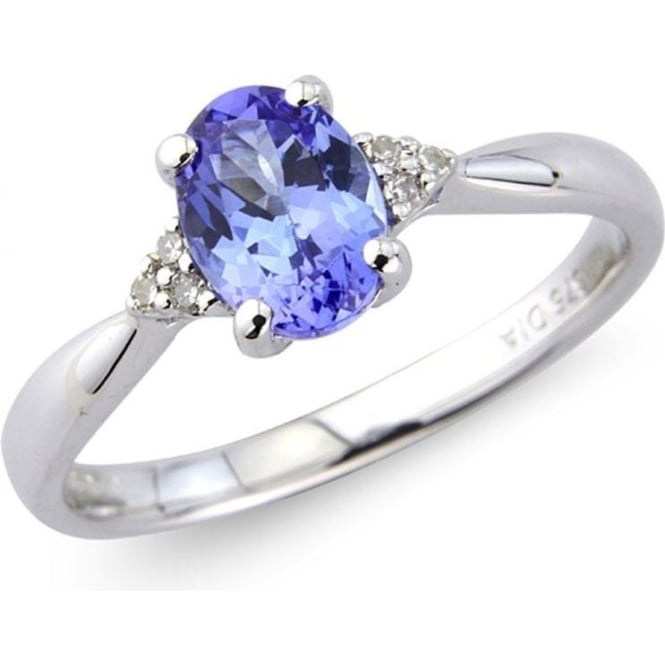 9ct White Gold Oval Tanzanite And Diamond Ring By Owen