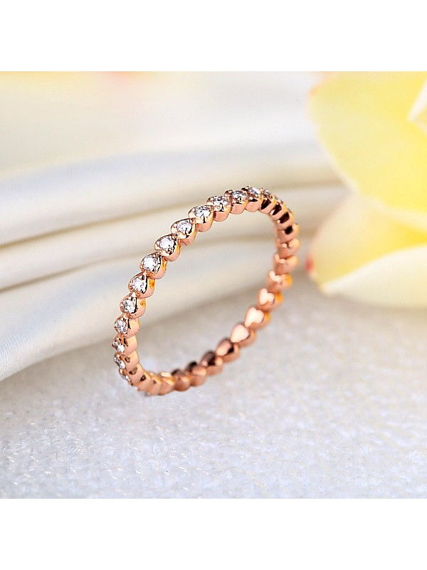14K Solid Rose Gold Heart Eternity Wedding Band Stacking