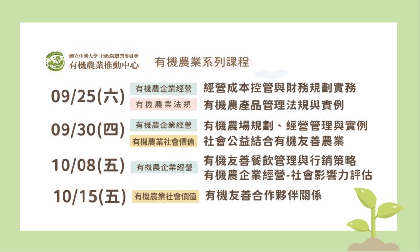 2021有機農業推動中心9月~10月線上系列課程