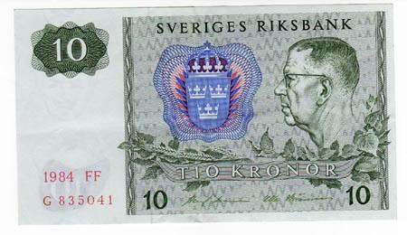 Svezia 10 Corone 1984