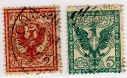 Aquila e ornamenti, 2 e 5 cent 1901