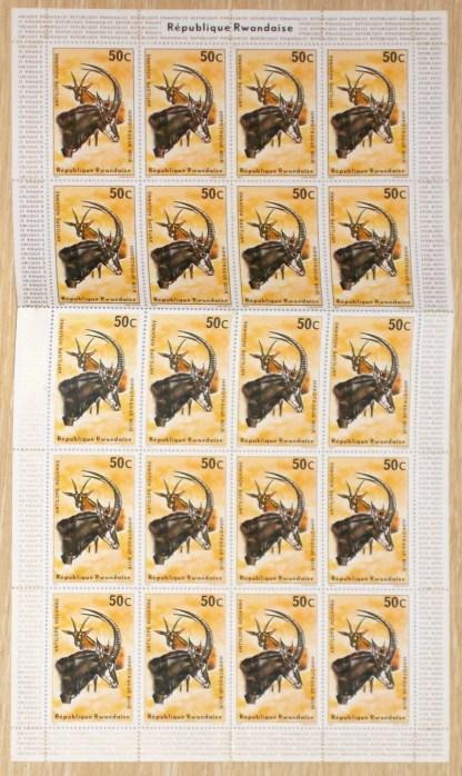 Ruanda foglio completo 50 cent Antilope rouanne - Hippotrague noir