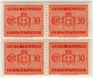 Stemma senza fasci filigrana ruota, segnatasse, 30 centesimi 1945 quartina