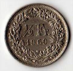 Svizzera 1/2 franco 1969