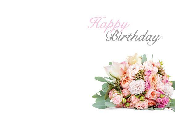 Happy Birthday Flower Posy Classic Worded Card