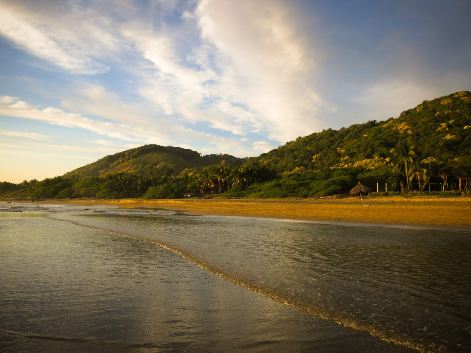 Pristine Troncones beach in the afternoon