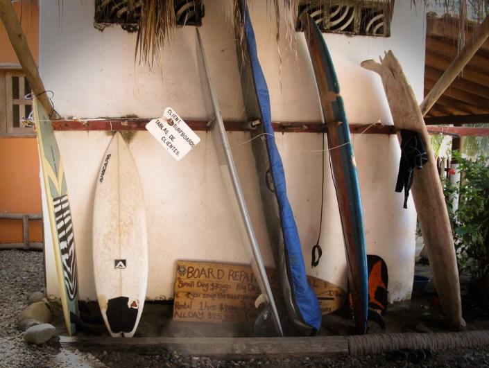 surf boards stored in La Saladita, mexico