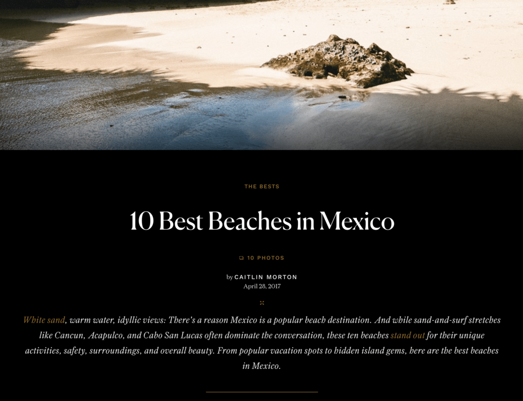 Image from article on the ten best beaches in Mexico