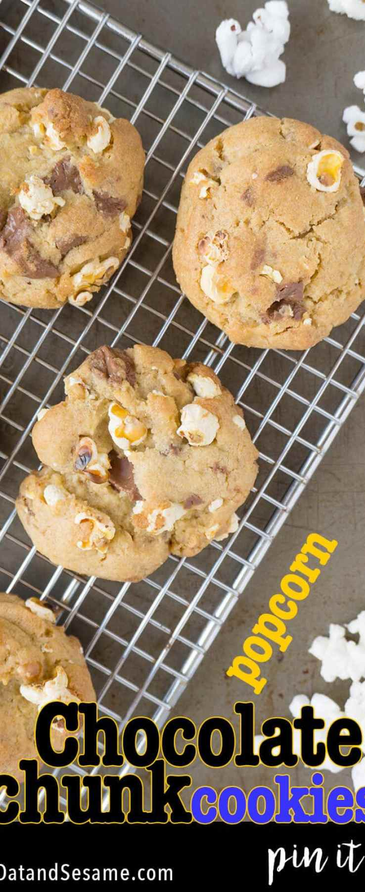 Salty + Sweet - Popcorn Chocolate Chunk Cookies! I've combined my FAVORITE Chocolate Chip Cookie Recipe with Popcorn! Modeled after Tony's Discodip special edition chocolate bar. Who is Tony? Read the post to find out! | #COOKIES | #POPCORN | #SWEETS | #Recipes at OatandSesame.com