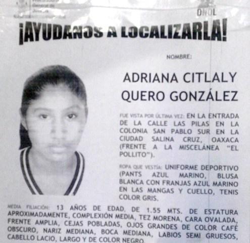 Menor desaparece en la colonia San Pablo Sur de Salina Cruz