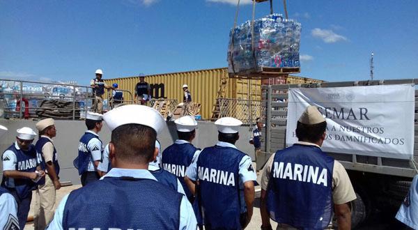 La Marina traslada mil 500 toneladas de víveres para los damnificados