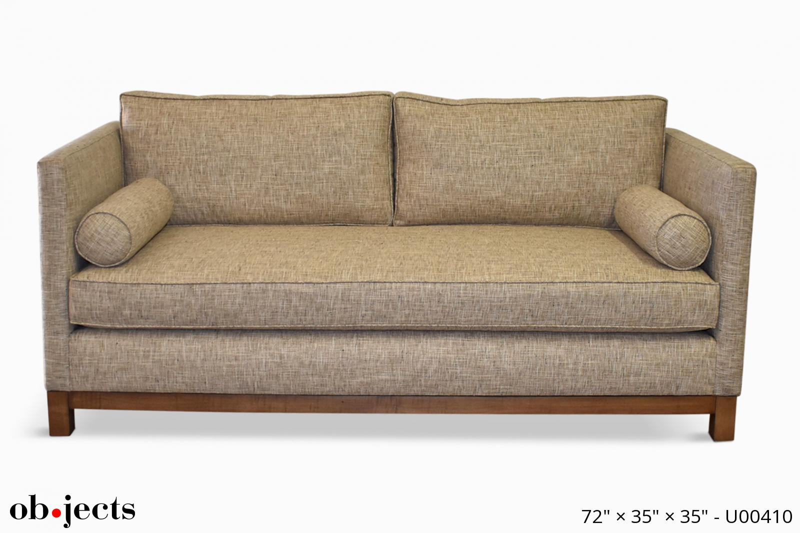 sofa oatmeal tuxedo w 2 bolster pillows