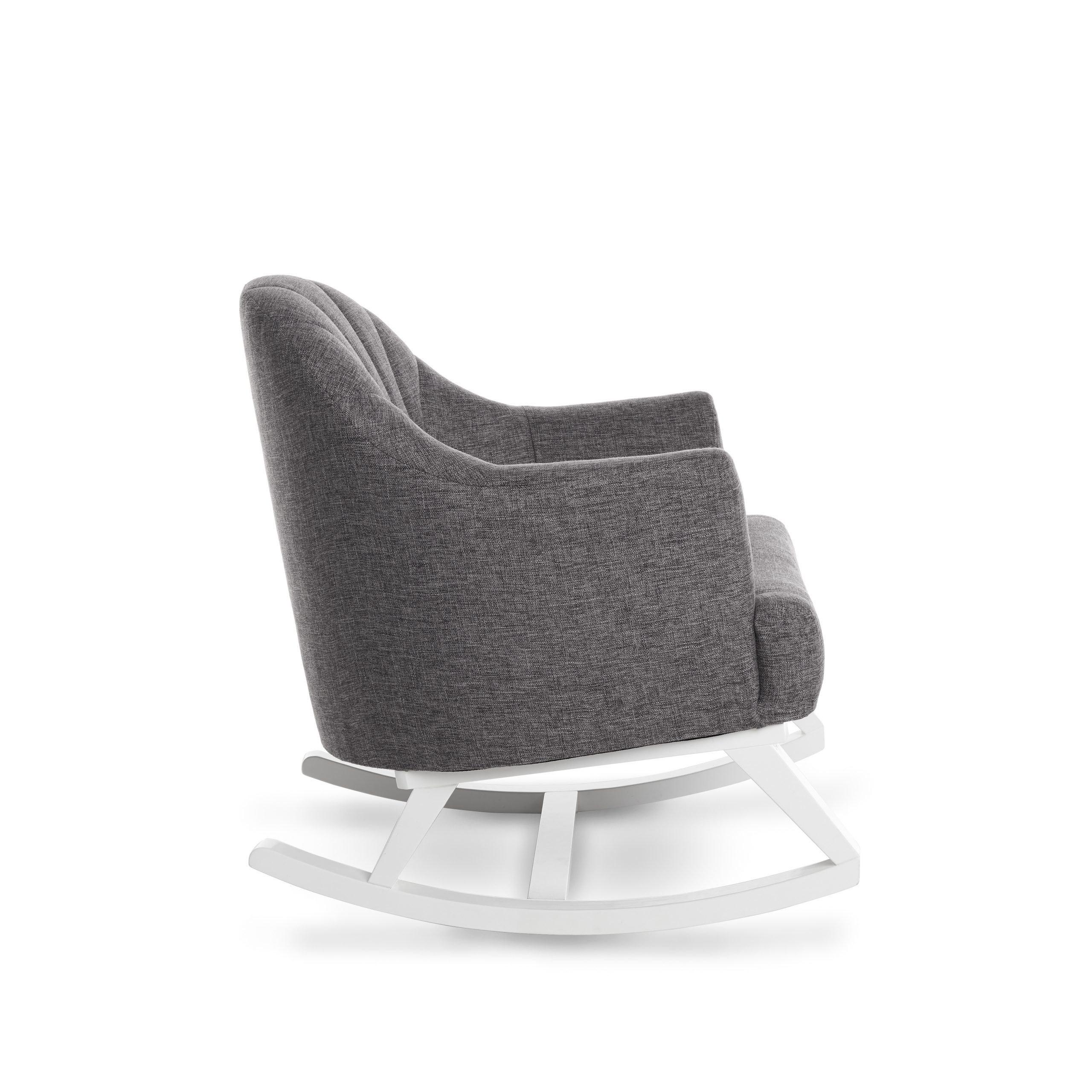 Round Back Rocking Chair White With Grey Padded Seat Obaby