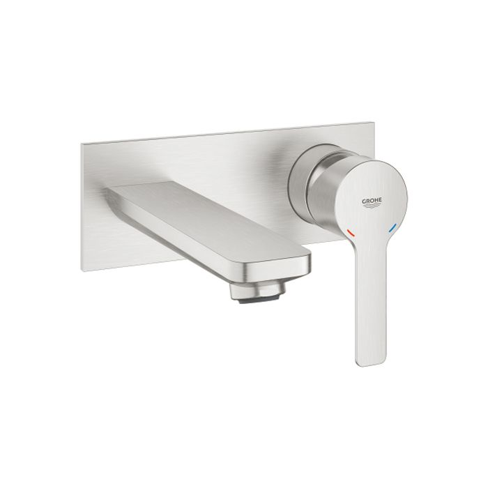 grohe lineare washbasin faucet 19409dc1 supersteel 2 hole wall tap 149mm projection