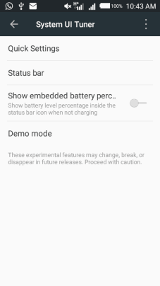 features of android syste UI Tuner