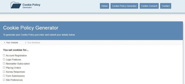 Cookie Policy generator
