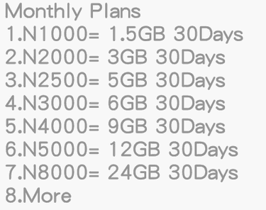 internet data subscription codes for networks in Nigeria