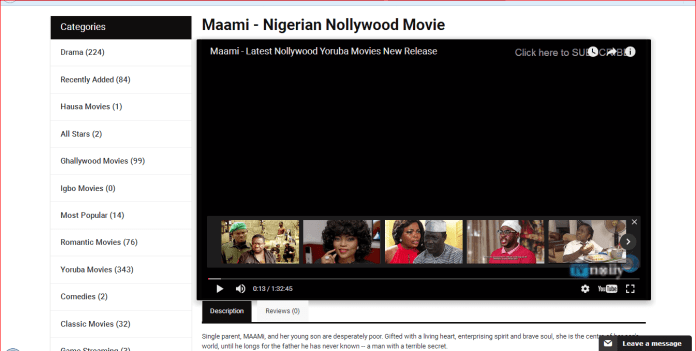 TvNolly web app for African movie contents