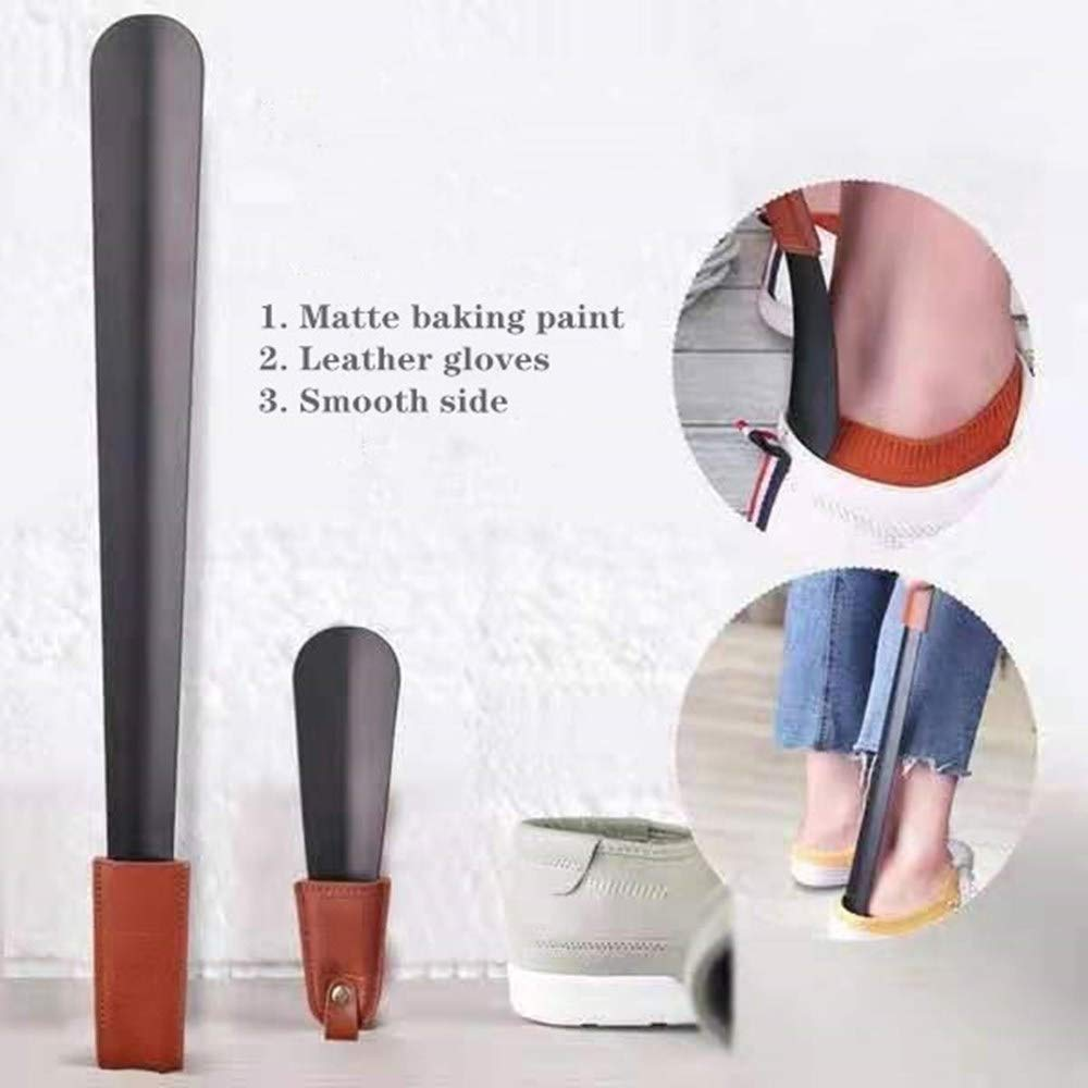 Long Handle Shoe Horn and Travel Shoe Horn with Leather Strap Dressing Aids Ober Health 3
