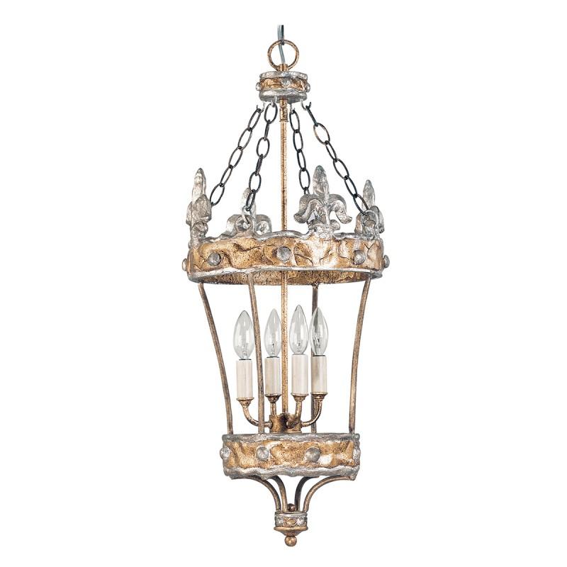 elstead lighting flambeau crown 4 light pendant lantern hand made in silver fleur de lis finish