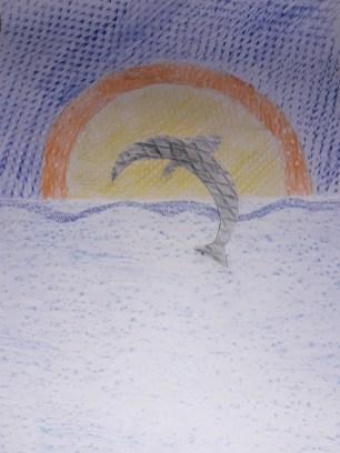 Oberschule Briesen_Kunstunterricht in Zeiten von Corona_Maja_Frottage_Kunstwerk Der Delfin