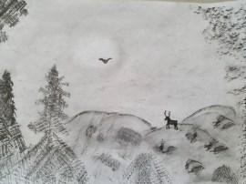 Oberschule Briesen_Kunstunterricht in Zeiten von Corona_Phillis_Frottage_Kunstwerk Landschaft bei Nacht