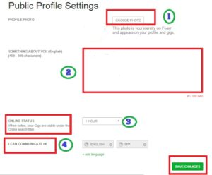 how to public profile setting on fiverr