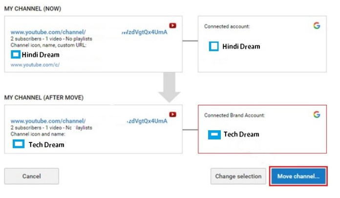move your youtube channel transfer