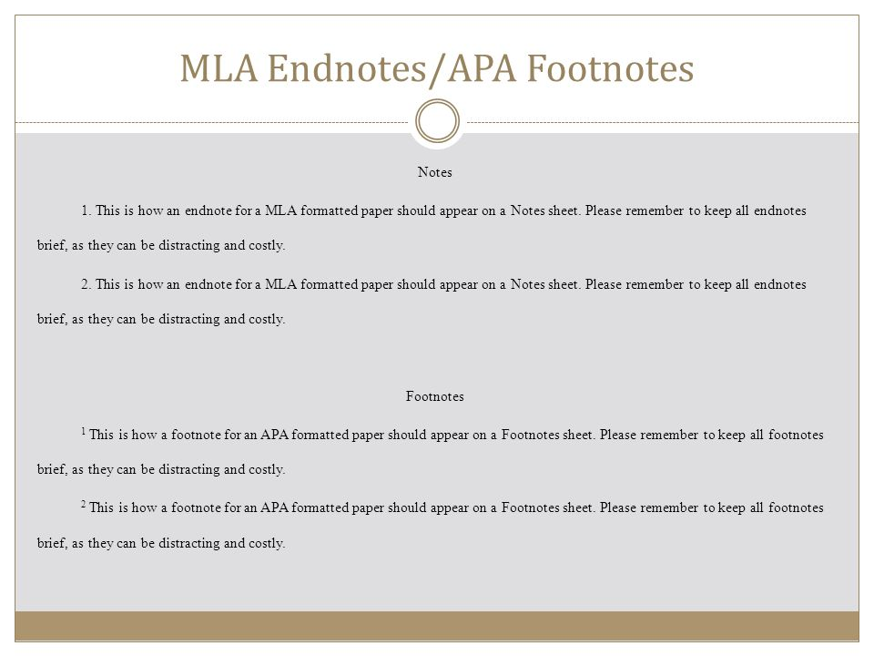mla footnote format example