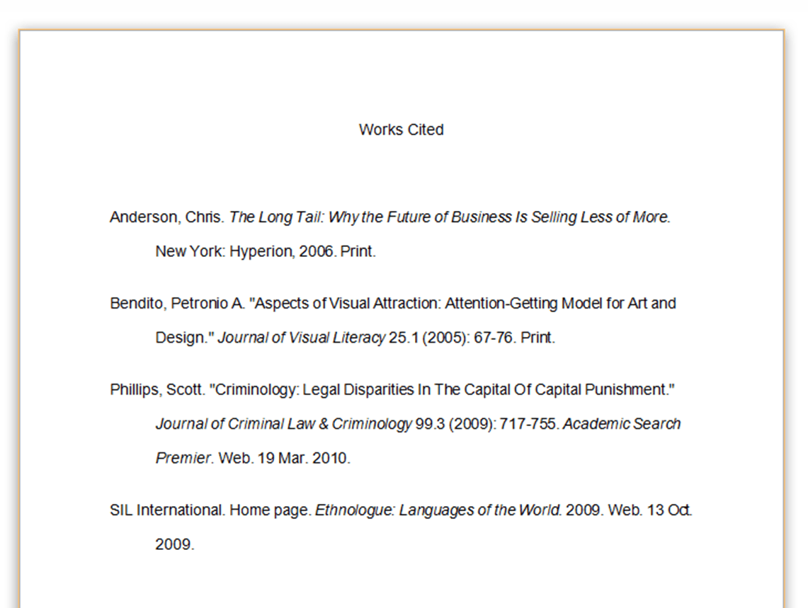 Mla Bibliography Example And Citations