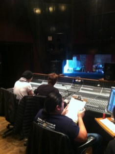 Obie and Patrick at the board, with JC Monterrosa on ProTools in Studio D at Blackbird Studios in Nashville, TN