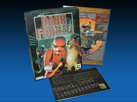 """Star Wars Dark Forces box, front and back, including """"Manual: Coded Intelligence"""""""