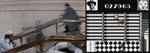 The Untouchables: Stairway shootout comparison between the film and its C64 computer game adaptation by Ocean Software.