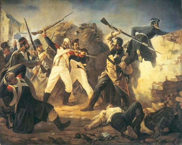 Подвиг гренадера лейб-гвардии Финляндского полка Леонтия Коренного в битве под Лейпцигом 1813 года. Картина художника Полидора Бабаева, 1846 год