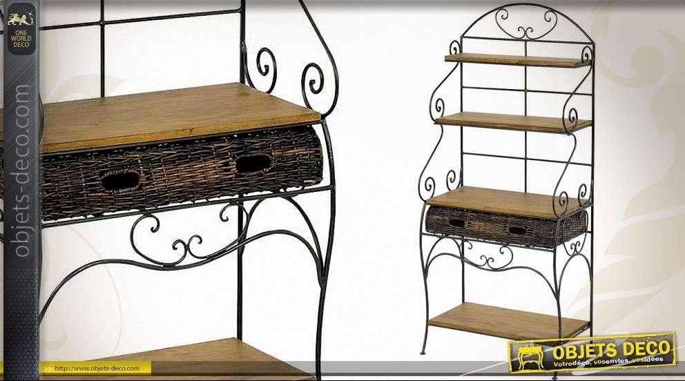 etagere en fer forge avec plateau pin et tiroir en rotin