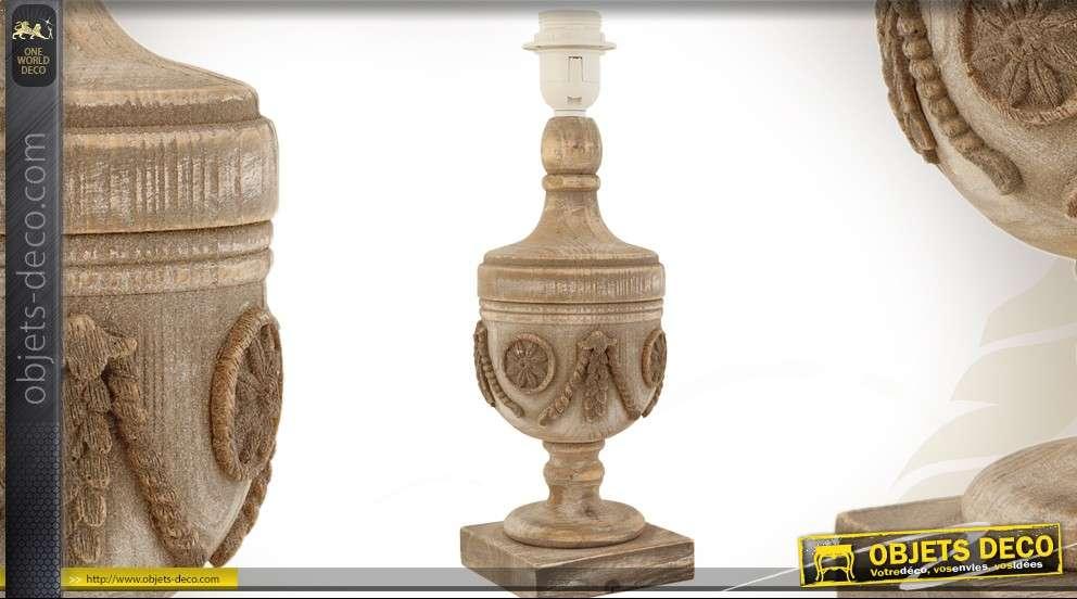 pied de lampe en bois sculpte en forme d urne style ancien